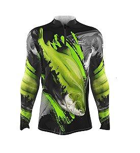 Camiseta para Pesca - Proteção Solar 50+ UV - Tamba verde limão