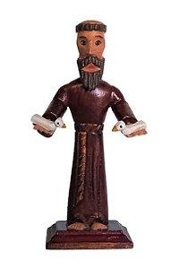 São Francisco de Assis Braços Estendidos em Madeira. 16cm