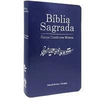 Bíblia Sagrada Harpa Cristã com Música. Capa Luxo Azul. Grande