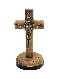 Pedestal Crucifixo para Painel de Carro, em Madeira. Metal Ouro Velho. 7cm