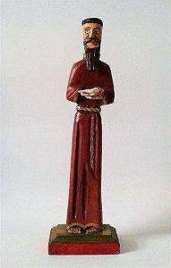 São Francisco de Assis em Madeira com Passarinho - 25cm