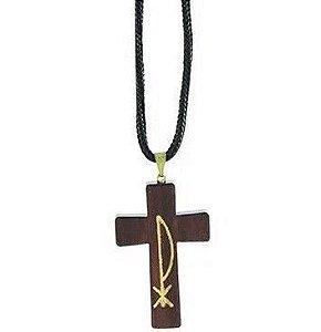 Colar Cruz de Madeira PX com Cordão Preto. Comprimento 34cm