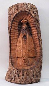 Nossa Senhora Aparecida entalhada no tronco. 48x23cm