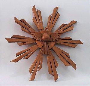 Divino Espírito Santo em madeira. Cor natural. 30x30 cm.