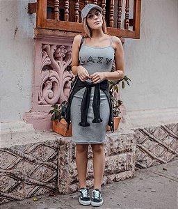 Vestido Midi de Alcinha em Ribana Cinza