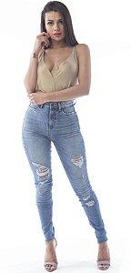 Calça Hot Jeans Skinny sem Barra