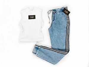 Calça Jogger  Jeans com listra Lateral