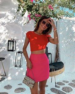 Vestido Color Block Vermelho e Pink