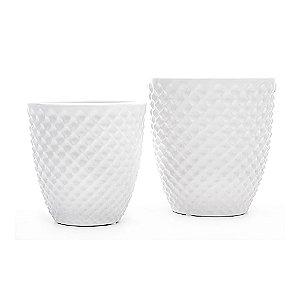 Cachepot de Cerâmica Branco - 2 Peças