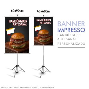 Banner Impresso de Hambúrguer Artesanal Personalizado