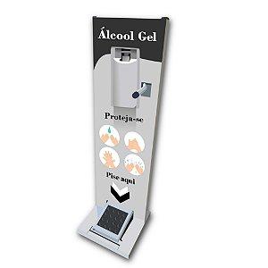 Totem Display Para Álcool em Gel para Cadeirantes com Acionamento Duplo