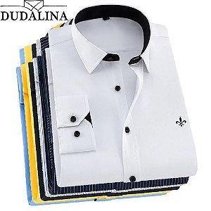0ac0ffe813 DUDALINA 2018 Homens Casuais de Manga Comprida Sólidos shirt Slim Fit  Negócios Vestido de Camisa Social
