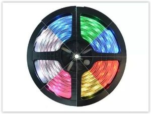 FITA LED RGB 3528 300 LEDS DUPLA FACE 5 METROS COLORIDO+CONTROLE