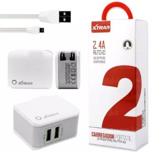 CARREGADOR INTELIGENTE PORTATIL 2 USB PORTAS AUTO-ID 2.4 A  + CABO LIGHTNING IPHONE - A1022