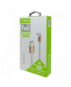 CABO V8 / MICRO USB METÁLIGO COM PLUGUE EM L  - KIMASTER CB208P - PRETO