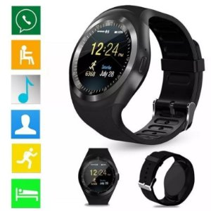 RELOGIO INTELIGENTE SMARTWATCH Y1 ANDROID IOS BLUETOOTH CHIP / CARTÃO