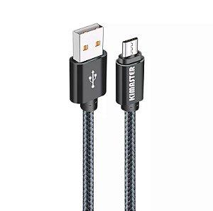 CABO MICRO USB 2A V8 NYLON C/ CONECTOR DE METAL 1.2M  - KIMASTER CB215XP - PRETO