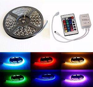 FITA LED RGB COLORIDA 5050 5 METRO 16 CORES  + CONTROLE + FONTE