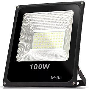 REFLETOR LED 100W HOLOFOTE BRANCO FRIO BIVOLT PROVA D'ÁGUA IP66