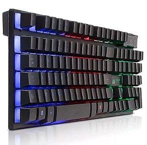 TECLADO GAMER LUMINOSO LED PC SEMI MECÂNICO NEON USB KNUP KP-2043