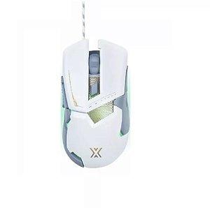 MOUSE GAMER BRANCO USB 7 BOTÕES 3200DPI COM LUZ LED GM-720