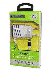 CARREGADOR TOMADA CELULAR 2 USB V8  2.1A ECOODA