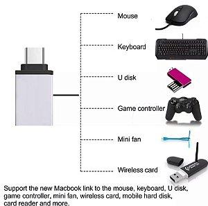 ADAPTADOR OTG USB C TIPO C MACHO PARA USB 3.0 FÊMEA PENDRIVE