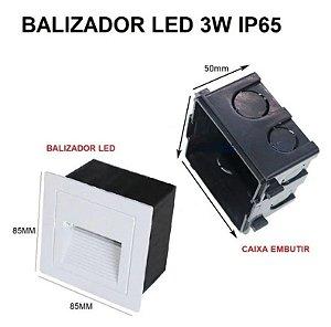 BALIZADOR DE ESCADA / PAREDE 3W BRANCO QUENTE - TJ02BBQ