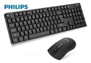 KIT TECLADO E MOUSE SEM FIO WIRELESS 2.4GHZ PC PHILIPS C501