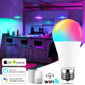 LAMPADA INTELIGENTE SMART WIFI 15W BRANCO FRIO + RGB - ALEXA GOOGLE HOME