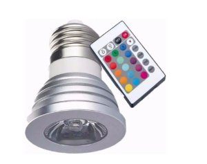 LAMPADA RGB C/ CONTROLE -  3W RGB