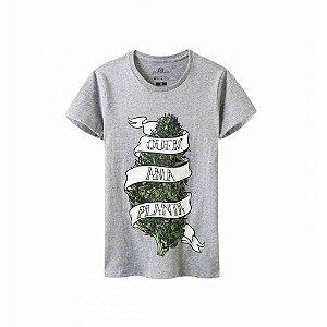 Camiseta Growroom - Quem Ama Planta - Feminina Cinza