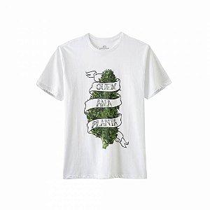 Camiseta Growroom - Quem Ama Planta - Masculina Branca