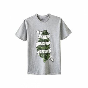 Camiseta Growroom - Quem Ama Planta - Masculina Cinza