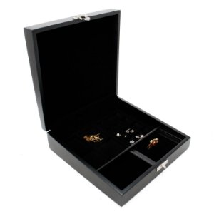 Caixa para joias pequena preta forro preto
