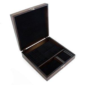 Caixa para joias pequena envelhecido forro preto