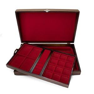 Caixa para joias modelo 1 envelhacida forro vermelho