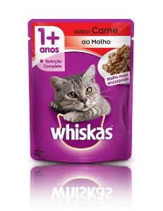 Sachê Whiskas para Gatos Adultos sabor Carne ao Molho - 85g
