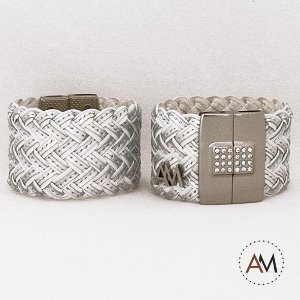 Par Bracelet Tressê White Silver