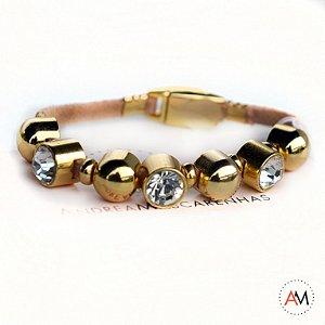 Petit Bracelet Cristais Nude Gold