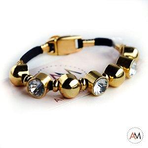 Petit Bracelet Cristais Black Gold