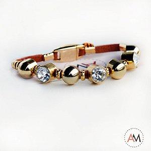 Petit Bracelet Cristais Cinnamon Gold