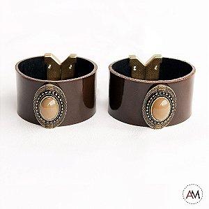 Par Bracelet Imperatriz Coffee Old Gold