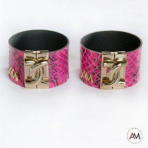 Par Bracelet Piton Rosa Pink