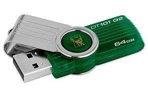 Pendrive Kingston 64GB USB 3.1/3.0/2.0 - Prata/Verde