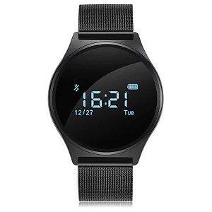 M7 Smart Watch para Smartphones com Sistema Android iOS  -  Metal Band  Preto
