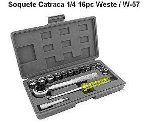"""SOQUETE CATRACA 1/4"""" - 16 PÇ - WESTE / W-57"""