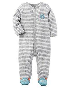 Pijama de Botões de Macaquinho - Listrado - Carters