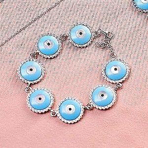 Pulseira Prata925 Olho grego Azul Cravejada