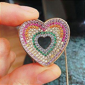 Colar coração Rainbow